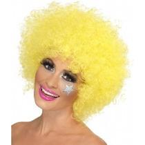 Peluca Disfraz Cosplay Afro Amarilla Sintetica