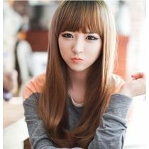 Peluca 55cm Lisa Sintetica Café Cosplay Japonesa Lolita Expr