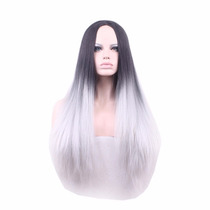 Cosplay Peluca Cabello Largo Liso Lacio Color Negro Y Blanco