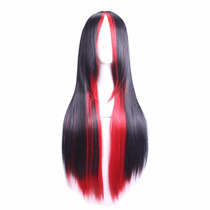 Cosplay Peluca Cabello Largo Liso Lacio Color Negro Y Rojo