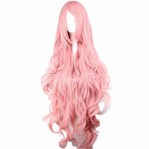 Cosplay Peluca Cabello Largo Ondulado Color Rosa Perona