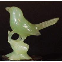 Figura Pajaro Jade Verde Manzana Escultura Artesanía China