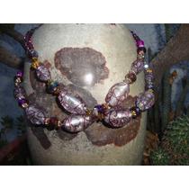 Collar En Cristal Ovalado Murano Purpura