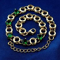 Pulcera Chapa De Oro 14k Con Circonia En Color Verde