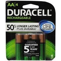 Duracell Recargable Long Life Aa-4 Baterías En Un Paquete De
