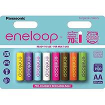 Paquete De 8 Baterias Recargables De Colores Eneloop Nuevo