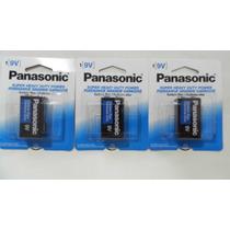 Juego De 3 Pilas Cuadradas 9 Volts Panasonic