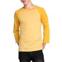 Hot Topic Playera Brooklyn Cloth Mustard Raglan