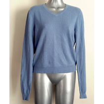 Sweater Delgadito American Eagle Azul Claro Manga Larga M