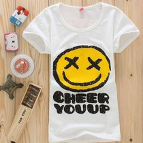 Playera Cheer Up Carita Feliz Moda Japon Corea