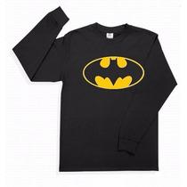 Playera Batman Manga Larga Superheroes Promocion 4 X 5