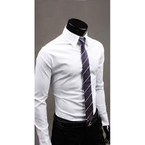 Camiseta Casual Slim Fit Manga Larga
