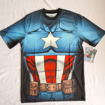 Marvel Captain America Playera Sublimada Nueva, Importada