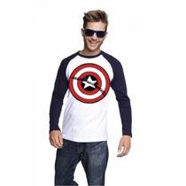 Playera Para Caballero Logo Capitán América