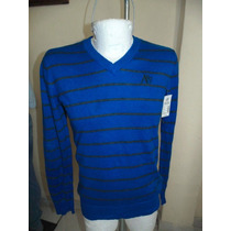 Sweater Aeropostale T-m Color Azul Con Lineas Negras Nuevo