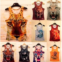 Camiseta, Blusa, Playera 3d Tigre, Lobo Talla S M L Unisex