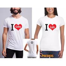 Playeras Pareja Amor I Love (personalizadas) Pm3036