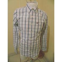 Camisa Hollister T-m Nueva Original Blanca Con Azul
