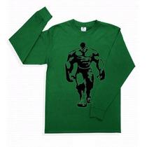 Playera Hulk Manga Larga Superheroes Avengers Promo 4 X 5