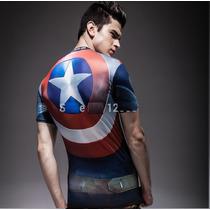 Camiseta Super Héroes Capitán América Playera Llavero Grati