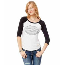 Aeropostale 3/4 Sleeve Lips Raglan Graphic T