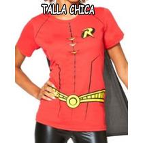 Playera Dama Robin Con Capa Desmontable Dc Comics Original