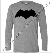 Playera Batman V Superman Manga Larga Gris Jaspeado