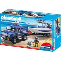 Playmobil 5187 Camioneta Y Lancha De La Policia!!!