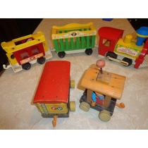 Vintage Fisher Price Tren Con Vagones 70º