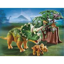 Playmobil 5234 Triceratops Con Bebe Dinosaurio Retromex!!