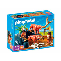 Playmobil Saber Toothed Cat With Cavemen Set Modelo 5102