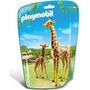 Playmobil 6640 Animales Zoo Jirafa Con Cria Bebe Safari Js