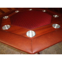 Mesa De Poker Octagonal Con Speed Cloth Rojo