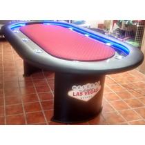 Mesa De Poker Las Vegas Luz Led, Base Y Paño Profesional