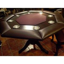 Mesa De Poker Octagonal Chocolate Con Paño Profesional