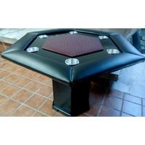 Mesa De Poker Hexagonal Con Paño Y Base Profesional