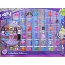 Polly Pocket Moda Estupendo Colección 50+ Piezas W 5 Muñecas