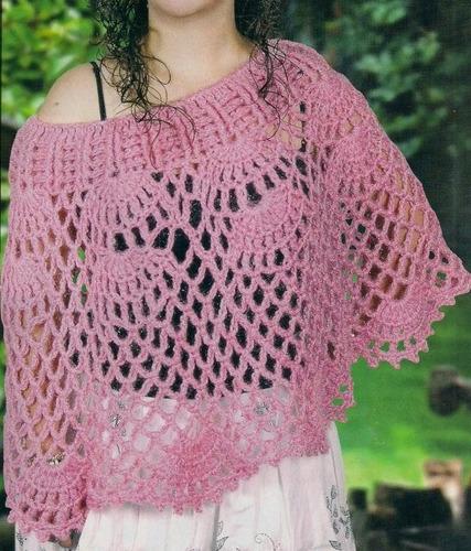 Ponchos tejidos a crochet para niña - Imagui
