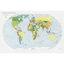 Lienzo Tela, Mapa Político Mundial, 100 X 150 Cm. Educativo