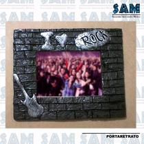Portaretrato En Resina I Love Rock Musica Foto Familia