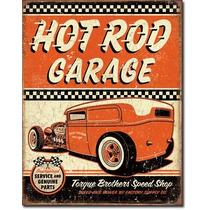 Hot Rod Garage Torque Poster Metalico Vintage Retro Antiguo