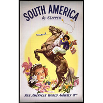 Lienzo Tela Anuncio Pan Am A Sur América 80 X 50 Cm Poster