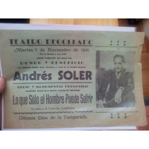 Cartel Teatro Degollado, Guadalajara 1948, Andrés Soler