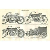 Lienzo Tela Poster Motos Antiguas Alemania 1910 50 X 79 Cm