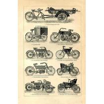 Lienzo Tela Poster Motocicleta Antigua Alemania 1910 77 X 50