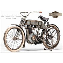 Lienzo Tela Poster Motocicleta Harley Davidson 1907 115x168