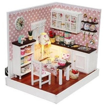 Dollhouse Miniatura Kit Diy Cubierta Delicioso Cocina Comedo