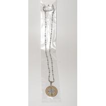 Medalla San Benito 3 Modelos Acero Inoxidable Con Collar