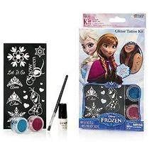 Kit De Disney Frozen Glitter Tatuaje Con Plantillas Pincel P