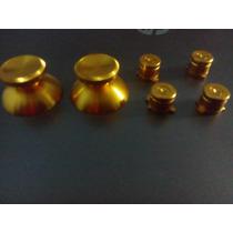 Botones Tipo Bala Y 2 Joystick Aluminio Color Oro Para Ps3